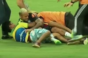 Neymar Tackled To The Ground By Pitch Invaders During Brazil